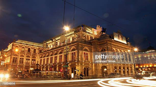 Vienna Opera house is illuminated on February 15 Vienna Austria The Vienna Opera Ball will take place there this evening