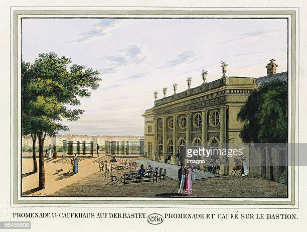 Vienna Promenade and coffeehous at the bastion Coloured Engraving 1825 [Promenade und Caffehaus auf der Bastey Kolorierter Kupferstich Aus dem...
