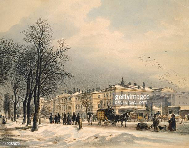 Vienna Railway Station in the snow, Austria 20th Century. Watercolour.