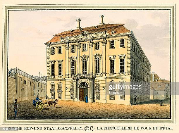 Vienna Secret Court Office and National Office today the office of the Austrian Chancellor Colour Etching 1825 [Geheime Hof und Staatskanzelley...