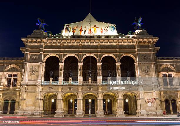 vienna state opera in austria at night - vienna state opera stock pictures, royalty-free photos & images
