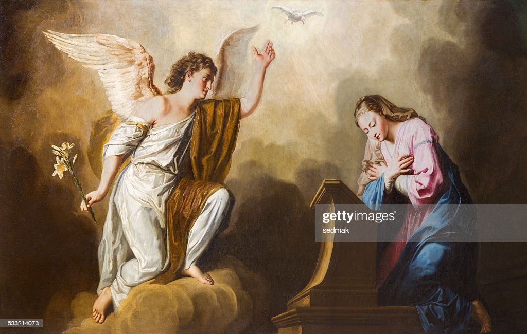 Vienna - The Annunciation paint in presbytery of Salesianerkirche church : Stock Photo