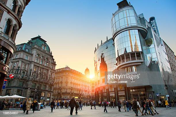 vienna, the stephansplatz at sunset - vienna austria stock pictures, royalty-free photos & images