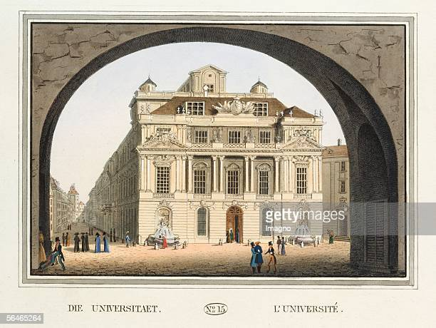 Vienna The University [Alte Universitaet] Coloured engravings Sheet No 15 from the catalogue Viennas excellentest monuments and buildings Publisher...