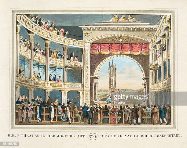 Vienna Theater in der Josefstadt 1825 Coloured copper engraving Sheet No 61 from the book Vienna's most excellent buildings and monuments Publisher...