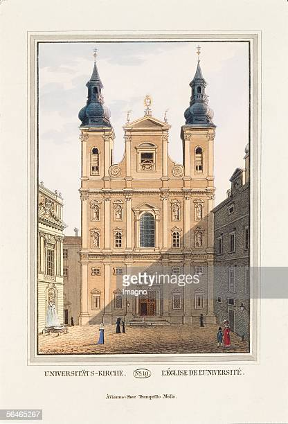 Vienna University church [jesuit church] 1825 Coloured engravings Sheet No 19 from the catalogue Viennas excellentest monuments and buildings...