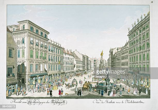 Vienna View from the Graben towards Kohlmarkt In Collection from Views of Vienna and its outskirts and some surrounding areas Engraved by Karl...