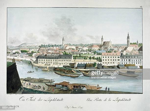 Vienna view from the Schwedenplatz to the Leopoldstadt Austria Coloured etching by Johann Ziegler 1781 [Wien Blick vom heutigen Schwedenplatz ueber...