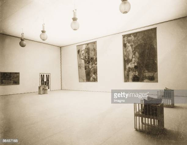 Vienna XVIII Secession exhibition main hall Collective exhibition Gustav Klimt 1903 interior design by Kolo Moser Vienna photography 1903 [Wien Der...