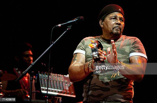 Singer Aaron Neville performs with his band, The Neville Brothers, on the stage of the Vienne Jazz Festival, 09 July in Vienne, south-eastern France....