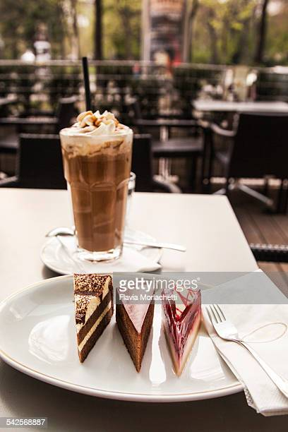 Viennese cakes and iced coffee