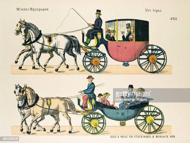Viennese coaches By Druck Verlag Stockinger Morsack Vienna coloured llithograph Around 1900 [Wiener Equipagen Eine geschlossene und eine offene...