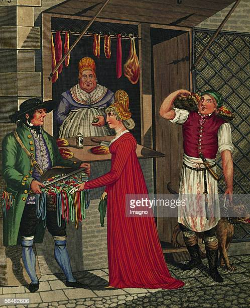 Viennese Types Butcherboy with dog Lady and Tyrolean street vendor in front of a butchershop Around 1810 By Johann Adolf Opitz [Wiener Typen...