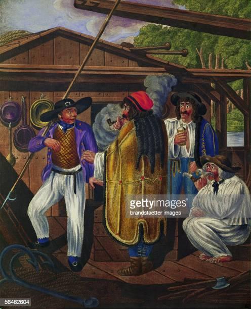 Viennese types Coachdriver and sailors on a Boat on the Danube Around 1810 By Johann Adolf Opitz [Wiener Typen Kutscher und Matrosen auf einem auf...