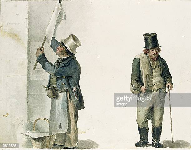Viennese Types Man who affixes placards dallying Jew / removal man apprentice boy with broom landlord Around 1840 Watercolour by Haala [] [Wiener...