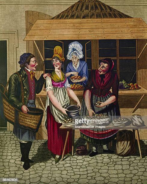 Viennese Types Women selling snails Around 1810 By Johann Adolf Opitz [Wiener Typen Frauen verkaufen Schnecken Johann Adolf Opitz um 1810]