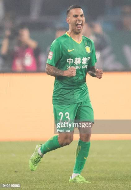 Viera of Beijing Guoan FC celebrates after scoring a goal during the 2018 Chinese Super League match between Beijing Guoan and Beijing Renhe at...