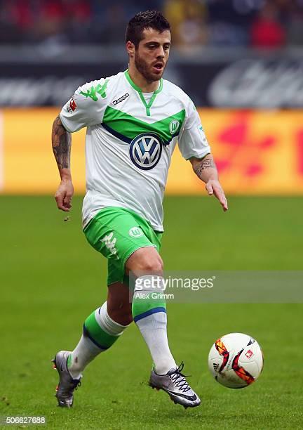 Vierinha of Wolfsburg controles the ball during the Bundesliga match between Eintracht Frankfurt and VfL Wolfsburg at CommerzbankArena on January 24...