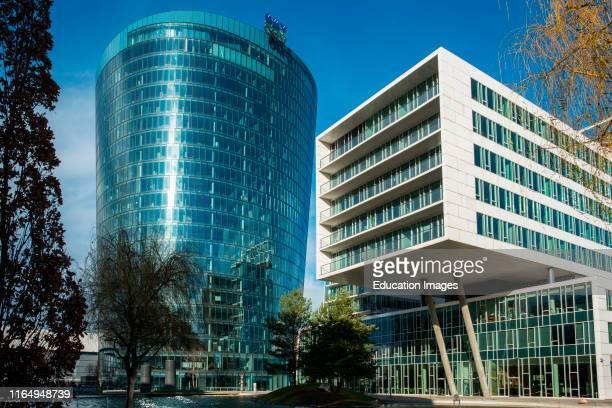 Viertel Zwei, modern business and residential district with OMV building Vienna, Austria.