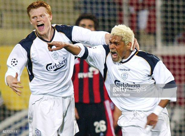 LEAGUE 01/02 Viertelfinale Leverkusen BAYER 04 LEVERKUSEN FC LIVERPOOL 42 JUBEL John Arne RIISE TORSCHUETZE Da Silva Costa ABEL XAVIER/LIVERPOOL nach...