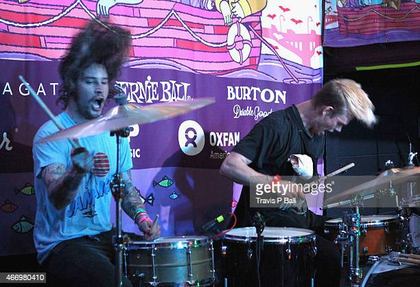Viet Cong performs onstage at the FLOODfest during the 2015 SXSW Music Film Interactive Festival at Cedar Street Courtyard on March 19 2015 in Austin...