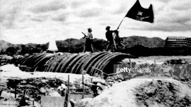 Vietminh flag flying over french position may 07, 1954 during final assault of the battle of Dien Bien Phu, Vietnam War