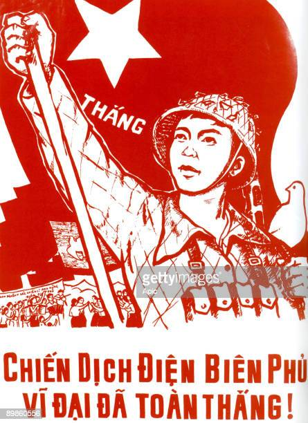 Vietminh poster celebrating the victory of Dien Bien Phu, the Dove of Peace is on the shoulder of the vietminh soldier