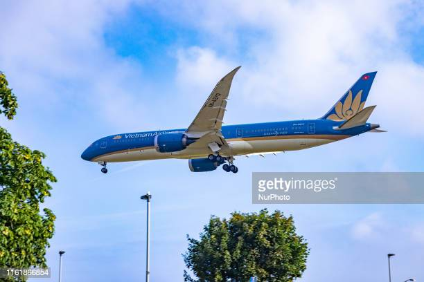 Vietnam Airlines Boeing 7879 Dreamliner airplane landing at London Heathrow International Airport EGLL LHR in England UK early morning during a...