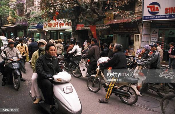 Vietnam, Asia, Hanoi, traffic with mopeds
