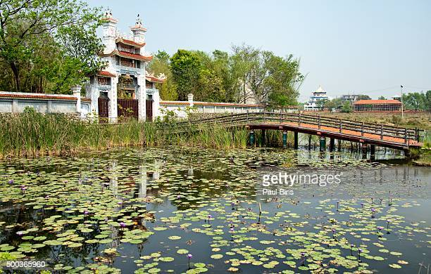 vietnam buddhist temple entrance in lumbini, nepal - terai stock pictures, royalty-free photos & images