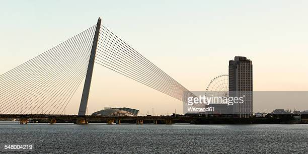 Vietnam, Da Nang, Silhouette of bridge