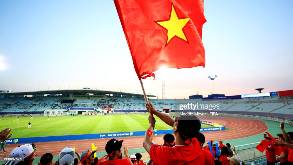 Vietnam fans show support for their team before the FIFA U-20 World Cup Korea Republic 2017 group E match between Vietnam and New Zealand at Cheonan Baekseok Stadium on May 22, 2017 in Cheonan, South Korea.