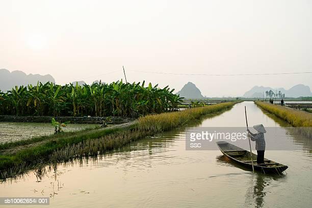 Vietnam, farmer in canoe on rice field canal