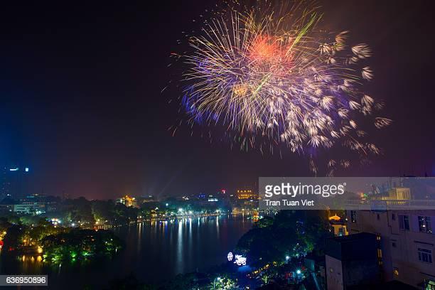 Vietnam - Firework on Vietnamese New Year in Hoan Kiem Lake