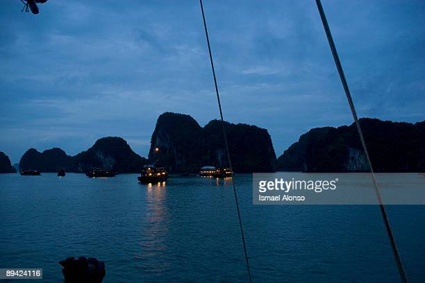 Vietnam Halong bay in the evening