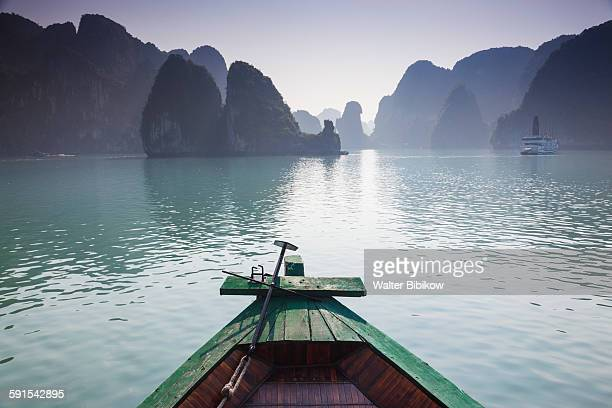 Vietnam, Halong Bay, small tourist boat