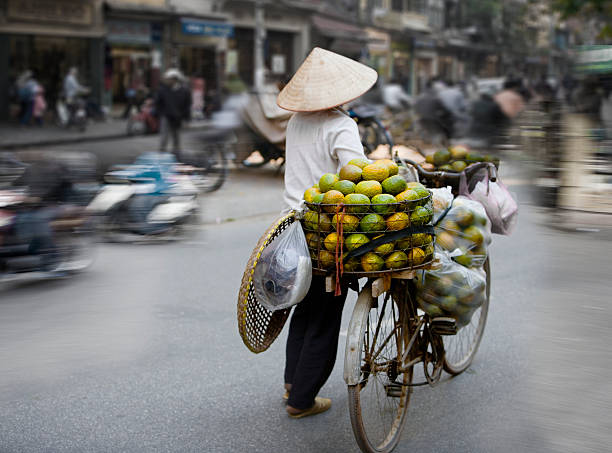 Vietnam, Hanoi, Old Quarter, person with produce on bicycle, rear view