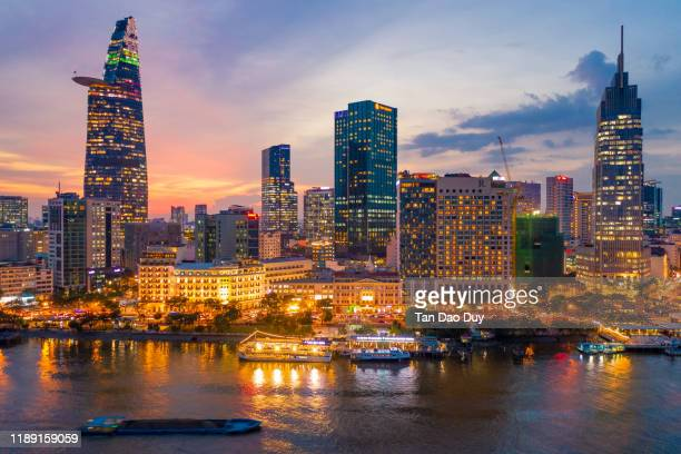 vietnam, ho chi minh city, bach dang wharf aerial view. - vietnam stock pictures, royalty-free photos & images