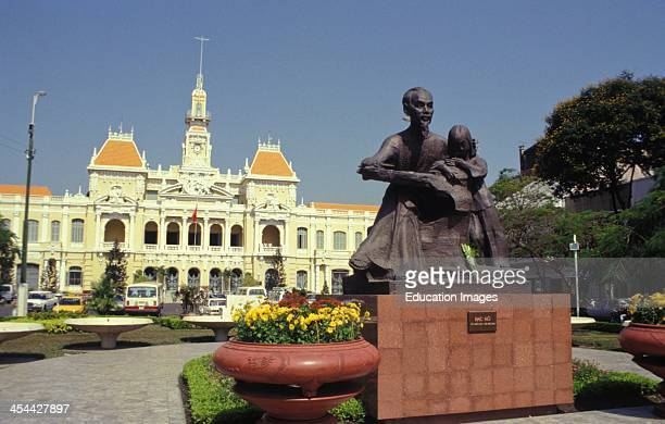Vietnam Ho Chi Minh City Hotel De Ville Luxury Hotel With Statue In Front