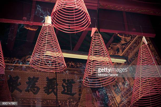 vietnam, ho chi minh city,phuoc an hoi quan pagoda - incense coils stock pictures, royalty-free photos & images