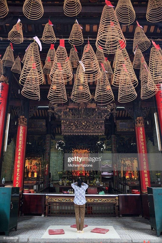 Vietnam, Incense coils inside temple : Stock Photo