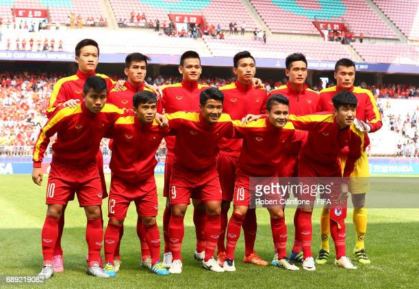 Vietnam line up for the FIFA U20 World Cup Korea Republic 2017 group E match between Honduras and Vietnam at Jeonju World Cup Stadium on May 28 2017...