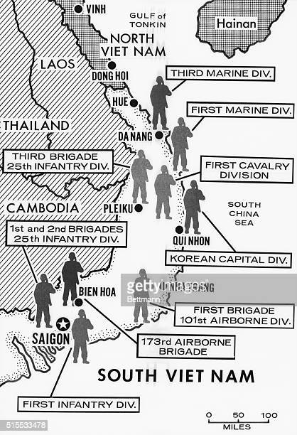 Map of the different U S military brigades and divisions in both North Vietnam and South Vietnam during the Vietnam War