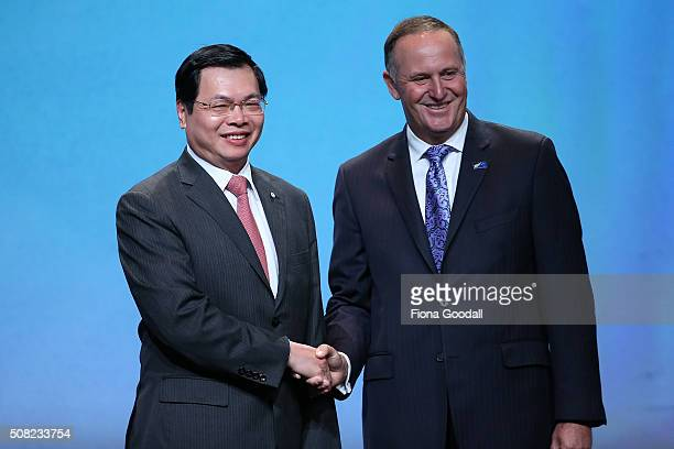 Vietnam Ministery of Industry and Trade Vu Huy Hoang with New Zealand Prime Minister John Key after signing the Trans Pacific Partnership at Sky City...