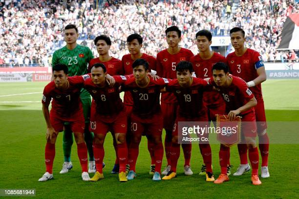 Vietnam poses during the AFC Asian Cup round of 16 match between Jordan and Vietnam at Al Maktoum Stadium on January 20 2019 in Dubai United Arab...