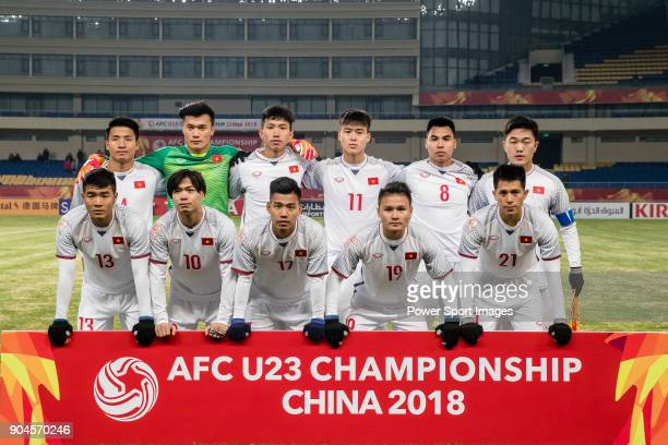 Vietnam squad poses for photos during the AFC U23 Championship China 2018 Group D match between South Korea and Vietnam at Kunshan Sports Center on...