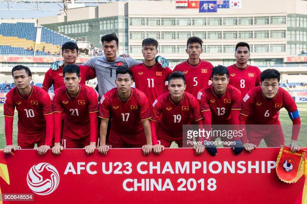 Vietnam squad poses for photos during the AFC U23 Championship China 2018 Group D match between Vietnam and Australia at Kunshan Sports Center on 14...