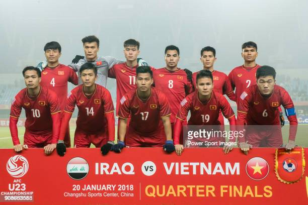 Vietnam squad poses for photos prior to the AFC U23 Championship China 2018 Quarterfinals match between Iraq and Vietnam at Changshu Stadium on 20...