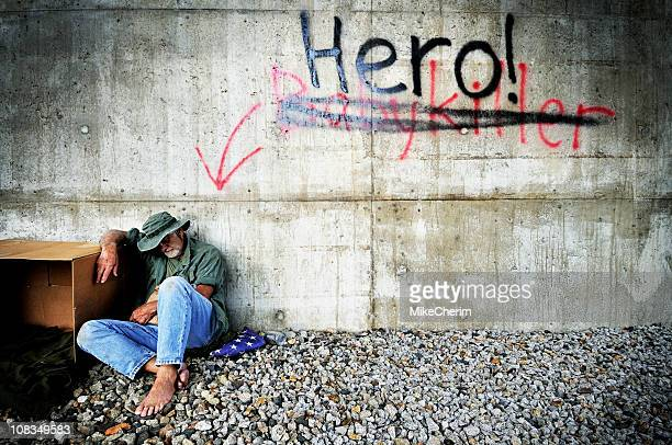 vietnam vet: a hero's welcome - homeless veterans stock photos and pictures