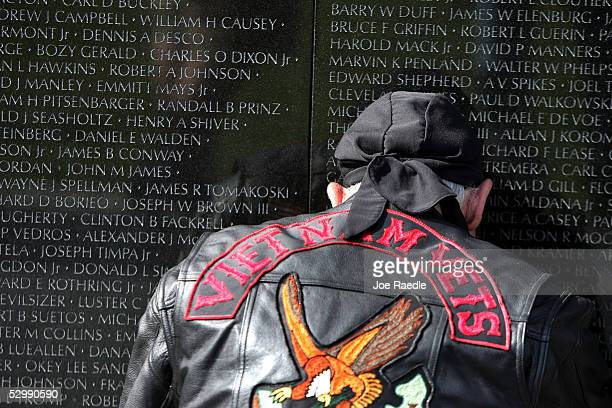 Vietnam Vet Gary Vallone is overcome with emotion after seeing the name of a friend who he served with inscribed on The Wall May 27 2005 in...